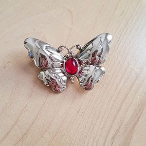 Trifari Butterfly Pin w/ Red Middle